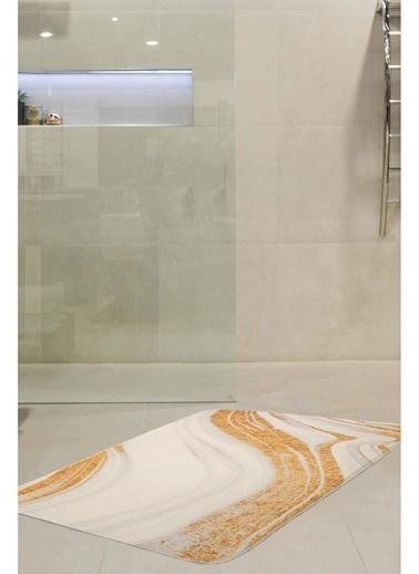 Hamur Creamic 75x125 cm Banyo Paspası Kaymaz Taban Banyo Halısı Beyaz